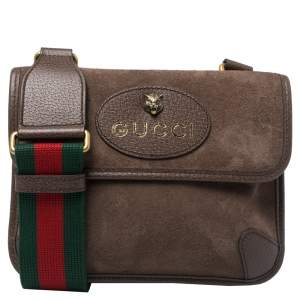 Gucci Brown Suede and Leather Web Neo Crossbody Bag