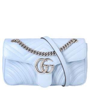 Gucci Light Blue GG Marmont Matelasse Small Shoulder Bag
