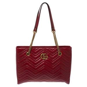 Gucci Red Matelassé Leather Medium GG Marmont Tote