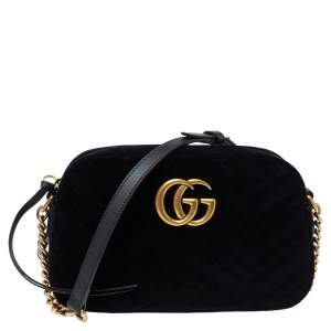 Gucci Black Matelasse Velvet Small GG Marmont Shoulder Bag