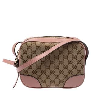 Gucci Pink/Beige GG Canvas and Leather Bree Crossbody Bag