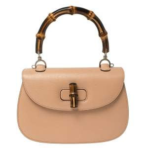 Gucci Peach Leather Medium New Bamboo Top Handle Bag