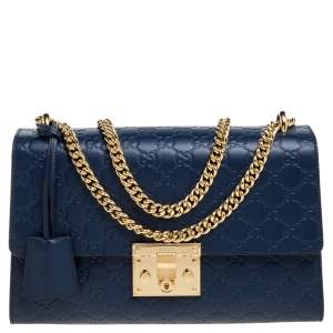 Gucci Blue Guccissima Leather Medium Padlock Shoulder Bag