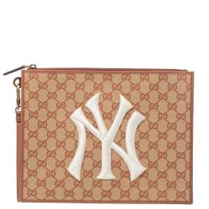 Gucci Beige/Brown GG Canvas and Leather New York Yankees Patch Pouch