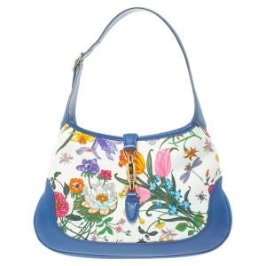 Gucci Blue Floral Print Canvas and Leather Jackie Hobo