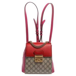 Gucci Multicolor GG Supreme Canvas and Leather Padlock Backpack