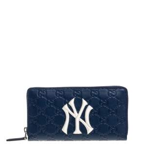 Gucci Blue Guccissima Leather NY Yankees Patch Zip Around Wallet