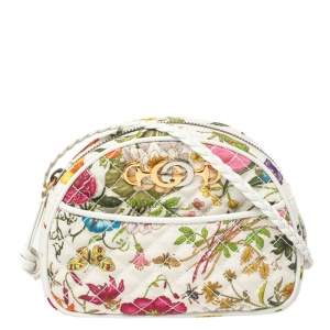 Gucci White Flora Quilted Canvas Trapuntata Crossbody Bag