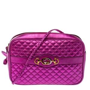 Gucci Fuchsia Laminated Quilted Leather Trapuntata Crossbody Bag