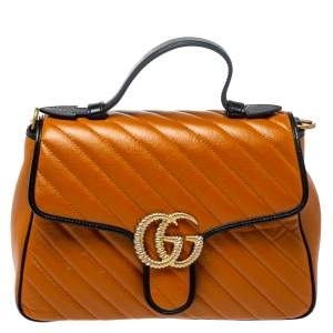 Gucci Brown/Black Matelasse Leather Small Torchon GG Marmont Top Handle Bag