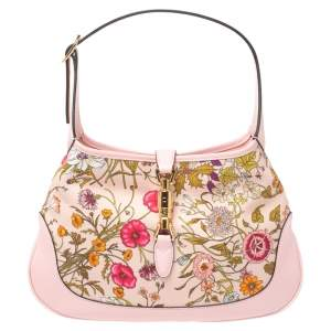 Gucci Pink Botanical Print Canvas and Leather Medium Limited Edition Jackie Hobo