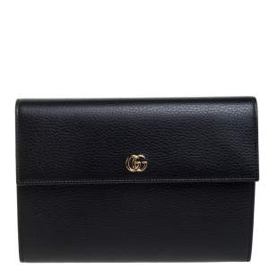 Gucci Black Leather Double GG Flap Clutch