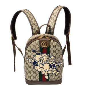 Gucci Beige GG Supreme Canvas and Leather Disney Three Little Pigs Ophidia Backpack