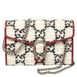 Gucci White/Red Tweed and Leather Mini Dionysus Shoulder Bag