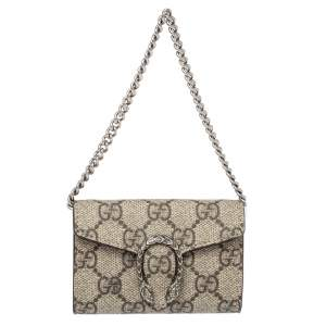 Gucci Beige GG Supreme Canvas Dionysus Chain Coin Purse