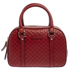 Gucci Red Microguccissima Leather Small Boston Bag