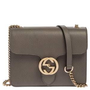 Gucci Grey Leather Interlocking G Shoulder Bag