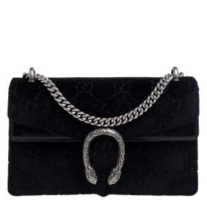 Gucci Black GG Velvet and Patent Leather Small Dionysus Shoulder Bag