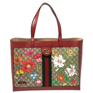 Gucci Red GG Flora Ophidia Tote