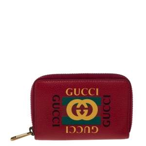 Gucci Red Printed Leather Zip Around Wallet