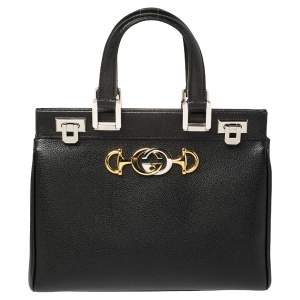 Gucci Black Grain Leather Small Zumi Tote