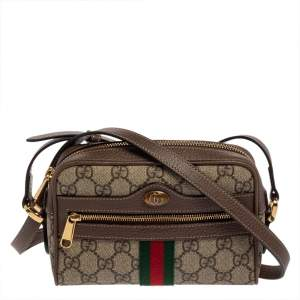 Gucci Beige/Ebony GG Supreme Canvas and Leather Mini Ophidia Crossbody Bag