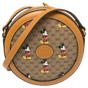 Gucci x Disney Brown GG Supreme Canvas and Leather Mini Mickey Mouse Round Crossbody Bag