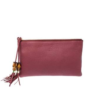 Gucci Dark Pink Leather Bamboo Tassel Clutch