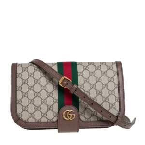 Gucci Brown GG Supreme Canvas and Leather Ophidia  Messenger Bag