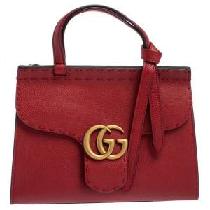 Gucci Red Leather GG Marmont Top Handle Bag