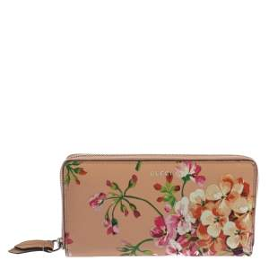 Gucci Multicolor Shanghai Blooms Print Leather Zip Around Wallet