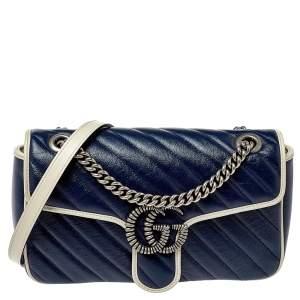 حقيبة يد علوية غوتشى تورشون مارمونت جى جى مينى جلد مبطنة بيضاء/ زرقاء
