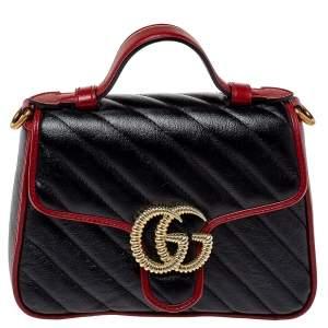 حقيبة يد علوية غوتشى تورشون مارمونت جى جى مينى جلد مبطنة حمراء / سوداء