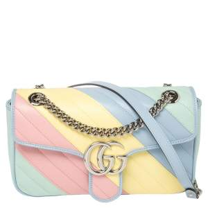 Gucci Pastel Multicolor Matelasse Leather GG Marmont Shoulder Bag