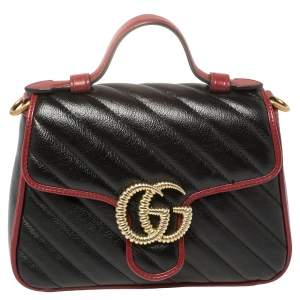 Gucci Black Diagonal Quilt Leather Mini GG Marmont Torchon Top Handle Bag