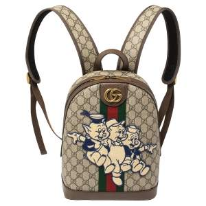 "Gucci Brown Coated Canvas And Leather ""Three little Pigs"" Ophidia Backpack"