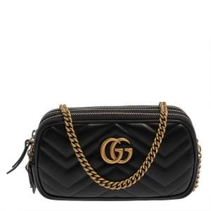 Gucci Black Matelasse Leather Mini GG Marmont Camera Bag