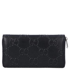 Gucci Black Perforated Leather GG Zip Around Wallet