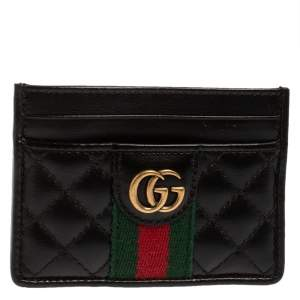 Gucci Black Quilted Leather GG Marmont Card Holder