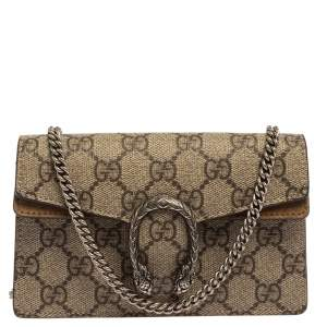 Gucci Beige GG Supreme Canvas and Suede Super Mini Dionysus Shoulder Bag