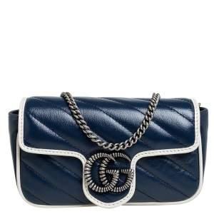 Gucci Blue/White Matelasse Leather Super Mini GG Marmont Torchon Crossbody Bag
