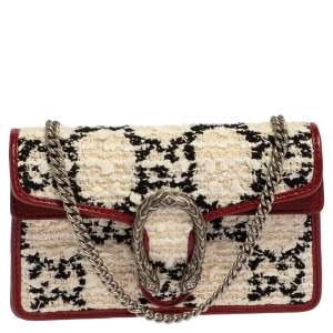 Gucci White/Red GG Tweed and Leather Super Mini Dionysus Crossbody Bag