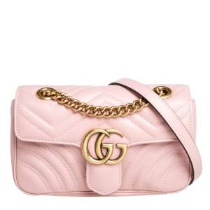 Gucci Pink Matelasse Leather Mini GG Marmont Shoulder Bag