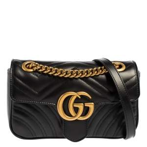 Gucci Black Matelasse Leather GG Marmont Shoulder Bag