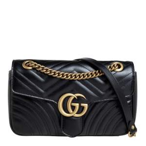 Gucci Black Leather GG Marmont Flap Shoulder Bag