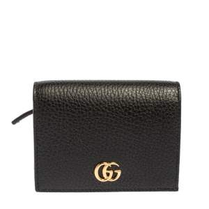 Gucci Black Leather GG Marmont Card Case