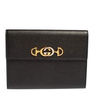 Gucci Black Leather Zumi Flap Clutch
