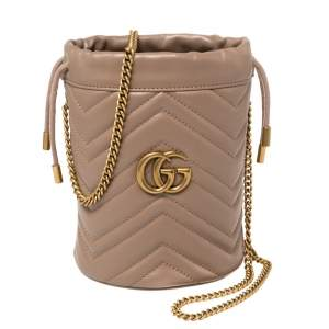 Gucci Beige Matelasse Leather Mini GG Marmont Torchon Bucket Bag