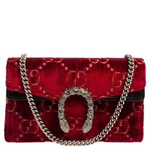 Gucci Red/Black GG Velvet and Patent Leather Super Mini Dionysus Crossbody Bag