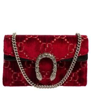 حقيبة كروس غوتشي سوبر ديونيسوس صغيرة جداً جلد لامع و قطيفة جي جي أسود و أحمر